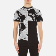 Mcq By Alexander Mcqueen Men's Short Sleeve Crew Neck Paisley T Shirt Darkest Black