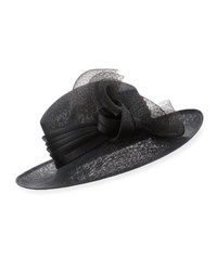 Philip Treacy Straw Hat W Tulle Bow Black