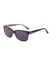 Thierry Mugler Square Plastic Sunglasses Purple