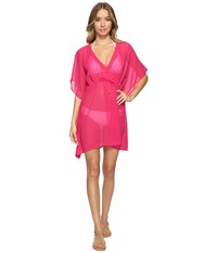 Echo Solid Silky Butterfly Cover Up Hibiscus Pink Women's Swimwear