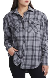 Afrm Women's Victoria Oversize Flannel Shirt Grey Plaid