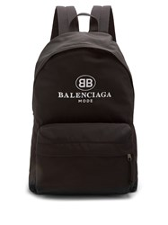 Balenciaga Logo Embroidered Coated Canvas Backpack Black Multi