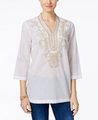 Charter Club Embroidered Tunic Only At Macy's Bright White
