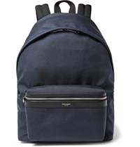 Saint Laurent Leather Trimmed Canvas Backpack Navy