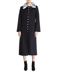 Carolina Herrera Fur Collar Single Breasted A Line Long Wool Coat Black