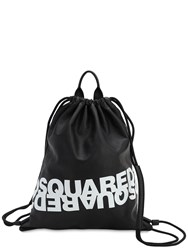 Dsquared Printed Leather Backpack Black