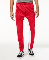 American Stitch Men's Stripe Track Pants Red White Stripe