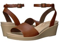 Crocs Leigh Ann Ankle Strap Leather Hazelnut Women's Wedge Shoes Brown