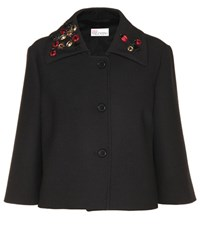 Red Valentino Embellished Cotton Twill Jacket Black