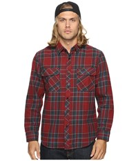 Brixton Bowery Long Sleeve Flannel Burgundy Men's Long Sleeve Button Up