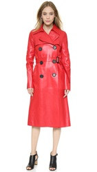 Derek Lam Belted Leather Trench Red