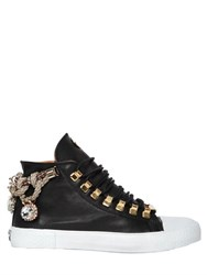 Black Dioniso 20Mm Rope Embellished Leather Sneakers