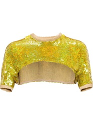 Filles A Papa Sequinned Crop Top Yellow And Orange