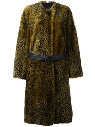 Petar Petrov Animal Print Shearling Coat Yellow And Orange