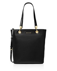 Michael Michael Kors Raven Top Zip North South Large Leather Tote Black Gold