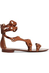 Emilio Pucci Cutout Leather Sandals Brown