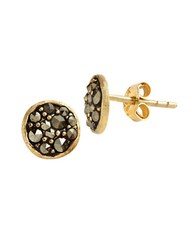 Lord And Taylor 18 Kt Gold Over Sterling Silver Marcasite Stud Earrings