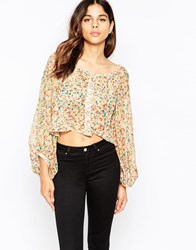Pussycat London Blouse In Ditsy Floral Print Cream