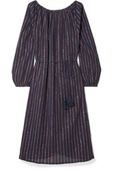 Mes Demoiselles Esmeralda Lyrical Striped Metallic Cotton Blend Dress Midnight Blue