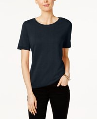 Charter Club Short Sleeve Sweatshirt Only At Macy's Deepest Navy