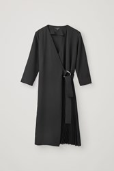 Cos Pleated Wrap Dress Black
