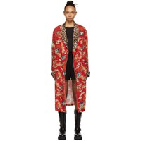 R 13 R13 Red Fish And Leopard Smoking Robe Coat