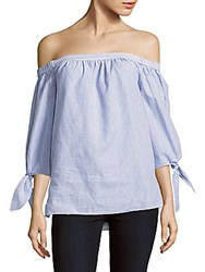 Bcbgmaxazria Striped Off The Shoulder Cotton Top Chambray White
