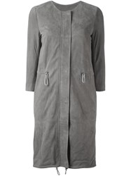 Eleventy Button Down Coat Grey