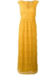 Red Valentino Lace Detail Dress Yellow Orange