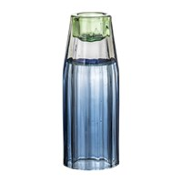 Bloomingville Blue Ridged Glass Candlestick Holder Blue Green