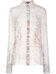 Sophie Theallet Sheer Marble Effect Blouse Nude And Neutrals
