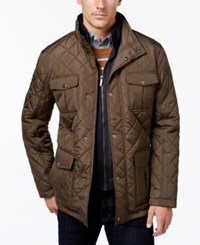 London Fog Men's Corduroy Trim Layered Quilted Jacket Olive