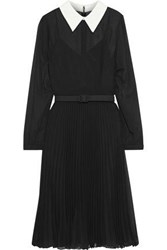 Mikael Aghal Woman Belted Crepe De Chine Trimmed Pleated Chiffon Dress Black