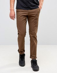 New Look Slim Fit Chinos In Light Brown Chestnut