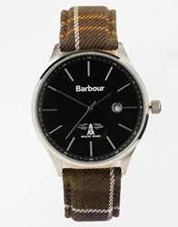 Barbour Check Printed Strap Watch Green