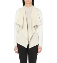 Vince Leather Trim Fleece Jacket Winter White