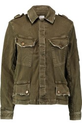 Current Elliott The Slanted Pocket Denim Jacket Army Green