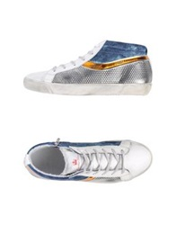Leather Crown High Tops And Trainers Silver