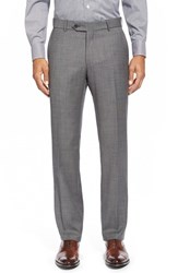 Ballin Men's Big And Tall Flat Front Sharkskin Wool Trousers Mid Grey