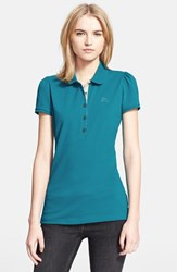 Women's Burberry Brit Check Trim Polo Topaz Blue