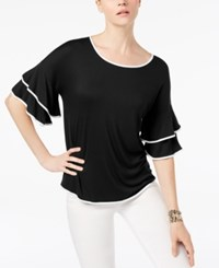 Cable And Gauge Boat Neck Ruffled Sleeve Top Black