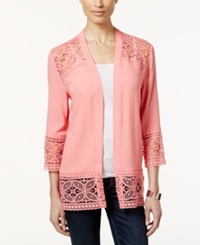 Ny Collection Petite Open Front Lace Cardigan Coral Temple