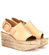 Chloe Leather Platform Sandals Beige