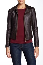 Doma Zipper Detail Leather Blend Motorcycle Jacket Brown