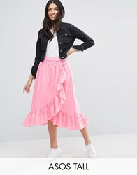 Asos Tall Wrap Midi Skirt In Cotton With Ruffle Hem Pink