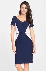 Nue By Shani Colorblock Ottoman Knit Sheath Dress Navy