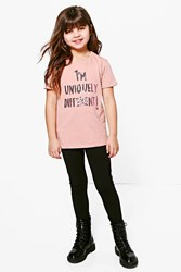 Boohoo I'm Uniquely Different Glitter Tee Pink