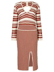 Lilly Sarti Striped Knit Dress Women Cotton Acrylic Viscose 38 Brown
