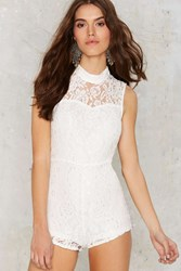 Nasty Gal Stuck On You Lace Romper White