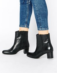 Park Lane Block Heeled Calf Leather Ankle Boots Black